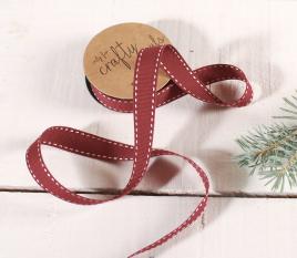 Cinta grosgrain roja con pespuntes
