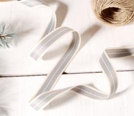 Gift ribbon striped denim