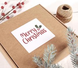 Frohe Weihnachten quadratisches Etikett