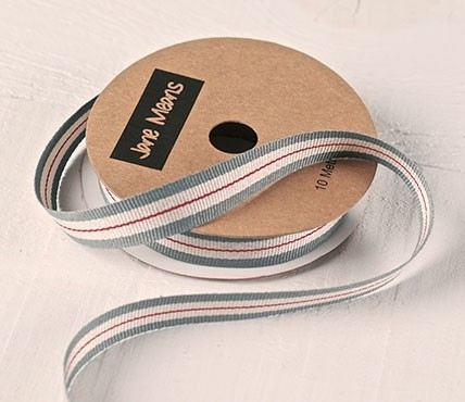 Grey and Red Grosgrain ribbon