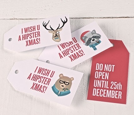 Printed gift tags Hipster Christmas