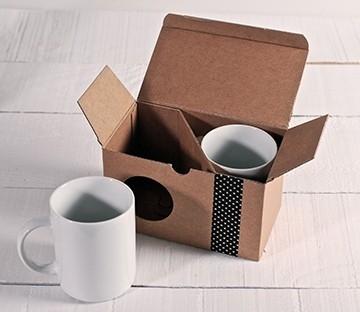 Caja kraft para dos tazas
