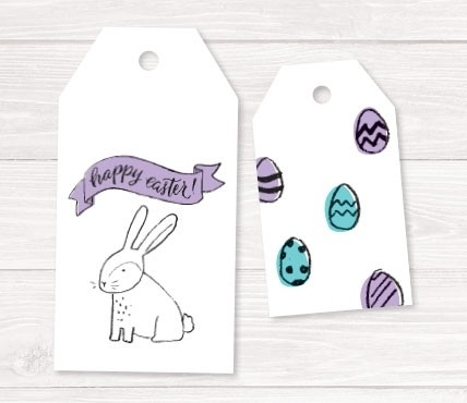 Gift labels Easter eggs and bunnies