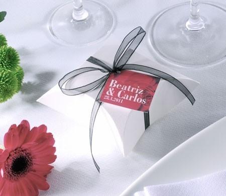 Scatolina bianca per matrimoni con mussolina