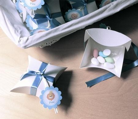 Scatola per battesimi con fiocco in raso blu
