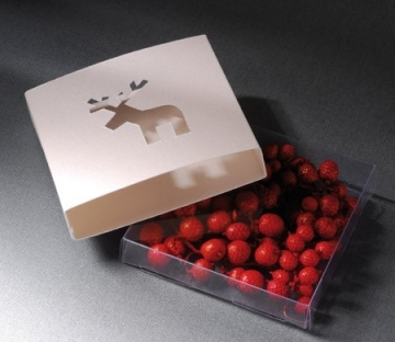 Box with a die-cut reindeer on it