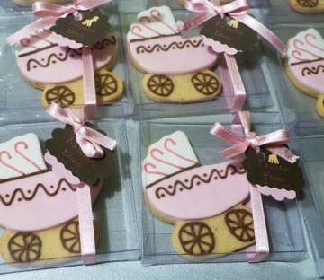 Cajita con lazo para galletas baby shower