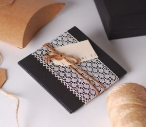 Gift box for a CD with lace edging decoration