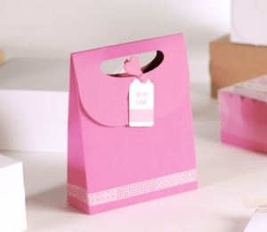 "Sacchetto regalo rosa ""with love"""
