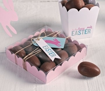 Transparent boxes for chocolate Easter eggs