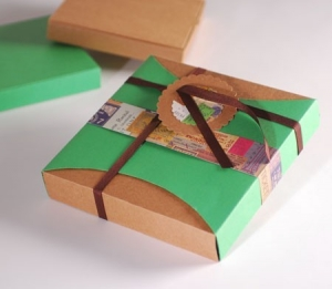 Vintage box with green sleeve
