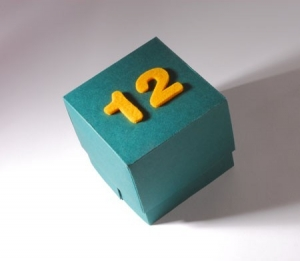 Box with felt numbers