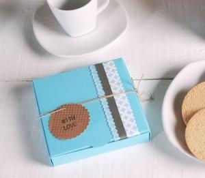 Caja azul para cookies y galletas