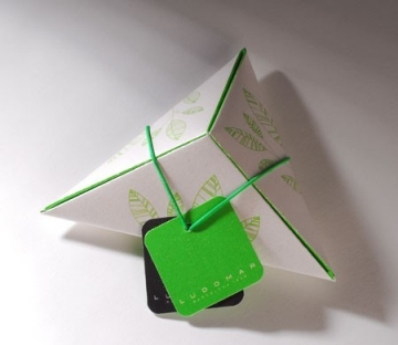 Caja triangular impresa