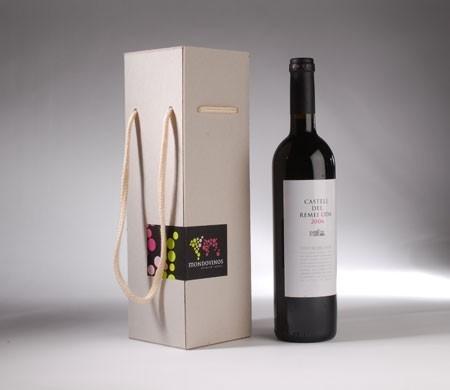 Caja para botella con cordón