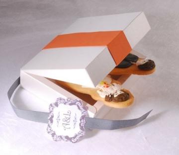Orange square box for wedding favours