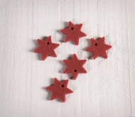 Set of 10 Star-shaped felt pendants