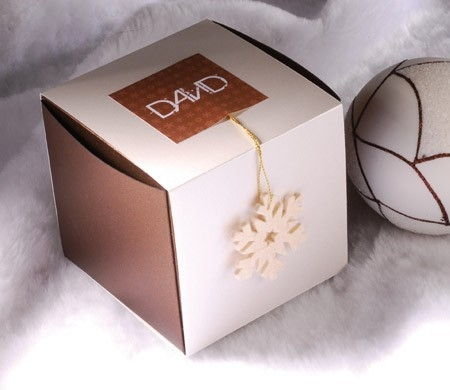 Box with cardboard strip for Christmas