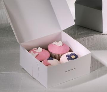 Cupcake-Box mit rosa Dekoration