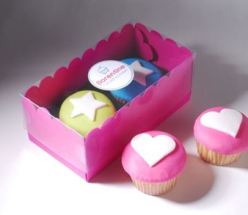 Box for two cupcakes in pink and black