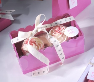 Cajita para cupcakes con corazones