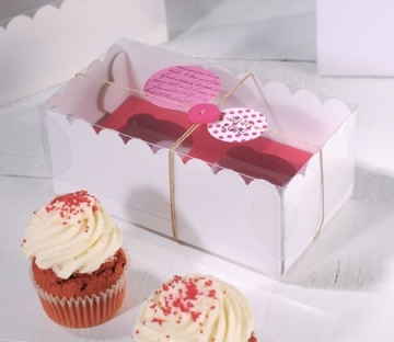 Box for 2 cupcakes with clear lid