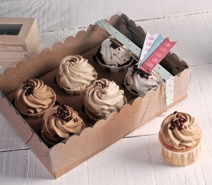 Scatola decorata per 6 cupcake