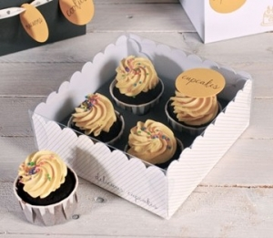 Scatola trasparente per 4 cupcake
