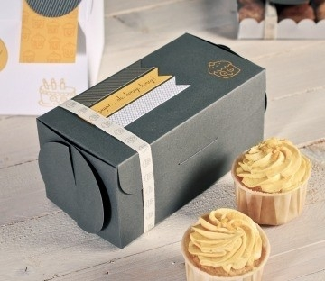 Grey box for two cupcakes