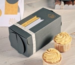 Graue Box für zwei Cupcakes