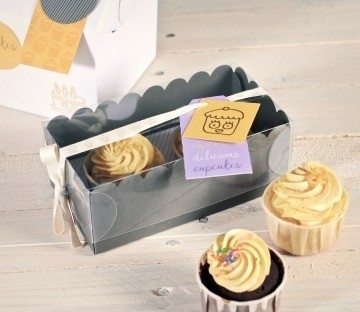 Small Box For 2 Cupcakes With Clear Lid Selfpackaging