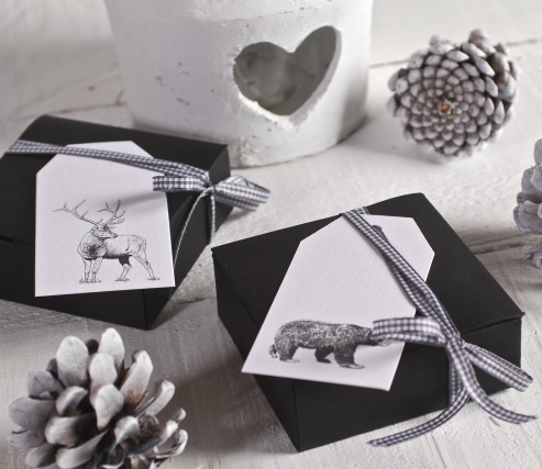 Box gift decorated with Ribbon and tags