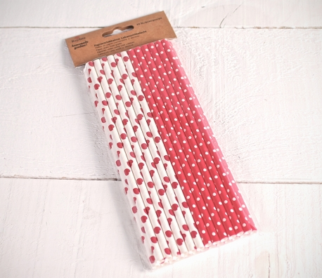 Red decorated paper straws