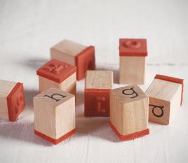 Set di timbri con le lettere