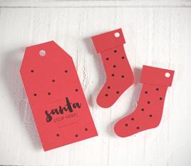 Kit mit Weihnachtsetiketten in rot