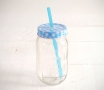 Crystal jar with straw (400ml)
