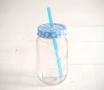 Vasetto in vetro da 400 ml con cannuccia