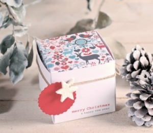 Square box with a Christmas print