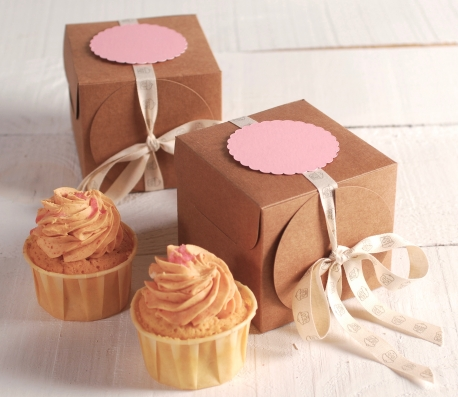 Box with ribbon for cupcakes