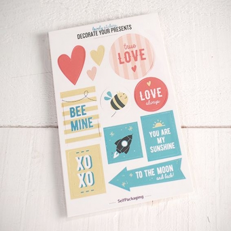 Sticker kit with LOVE messages