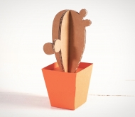 Cardboard cactus with a plant