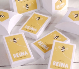 Rectangular box with printed logo