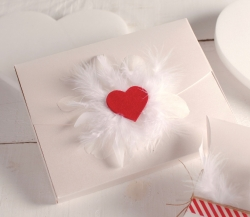 Box with a heart and feathers
