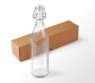 Glass bottle for water, with a lever-type top
