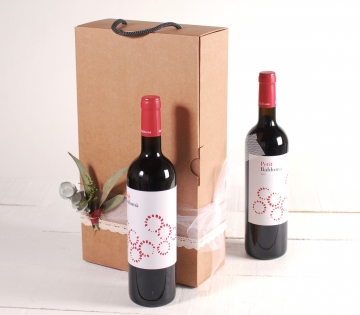 Box with a handle for two bottles