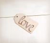 Etiqueta Love de madera