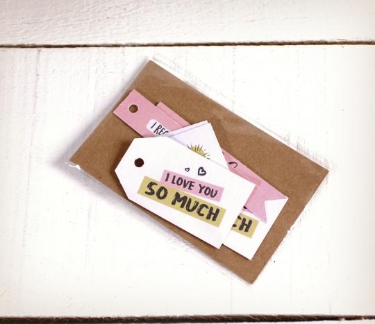 Kit de etiquetas impresas con mensajes de amor