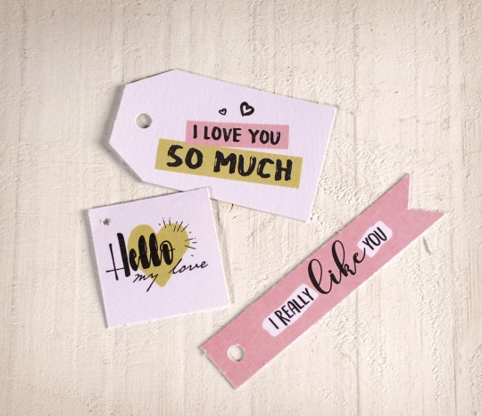 Printed label kit with love messages
