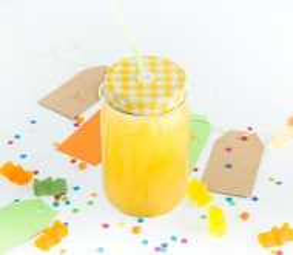 400 ml Glasgefäß mit Strohhalm