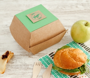 Take-away hamburger box